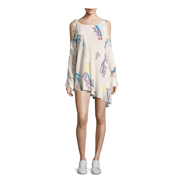 FREE PEOPLE floral-print tunic dress - Chic tunic dress in elevated tie-accent floral detail....