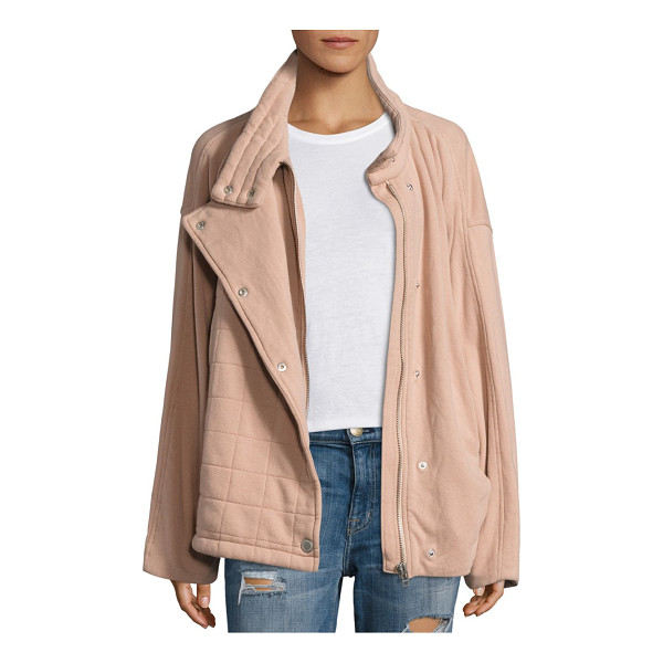 FREE PEOPLE oversized collared knit jacket - Cozy knit jacket made from soft French terry cotton....