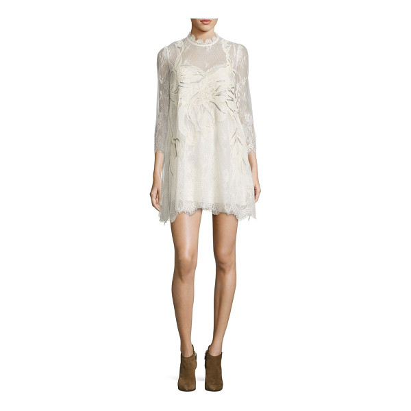 FREE PEOPLE swan lace mini dress - Romantic, embellished mini dress in scalloped lace....