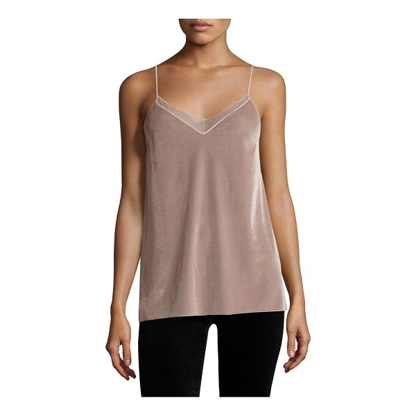 FREE PEOPLE velvet solid tank top - Velvet tank top with mesh panel at front.V-neck. Spaghetti...