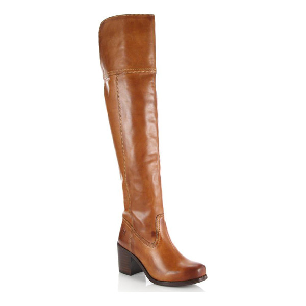 FRYE Kendall leather over-the-knee boots - Burnished detail enriches this classically tailored...