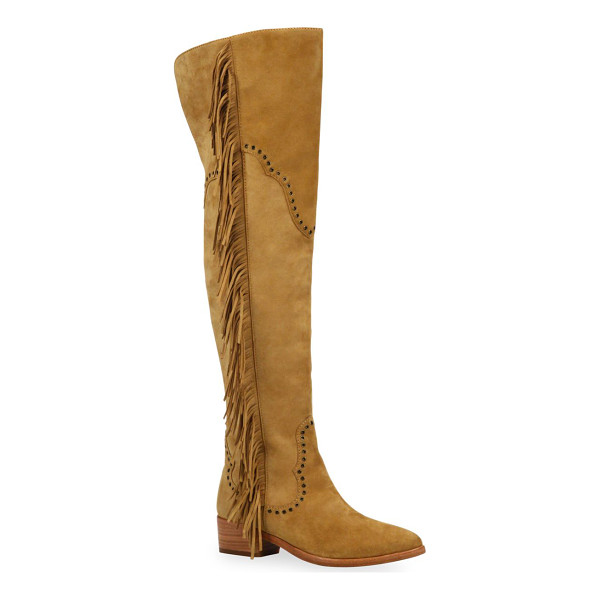 FRYE ray fringed suede over-the-knee boots - Western-inspired fringed suede boot with grommet trim....