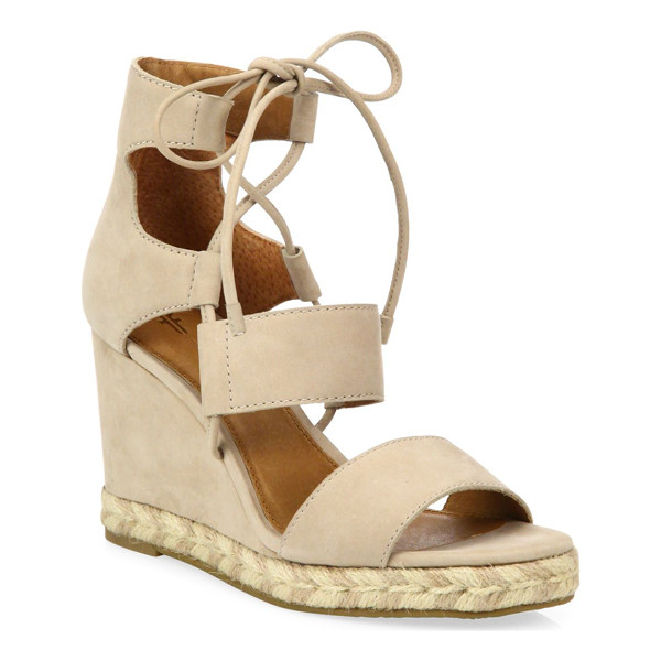 FRYE roberta ghillie nubuck leather wedge sandals - Attractive wedge heel on ghillie tie leather sandals....