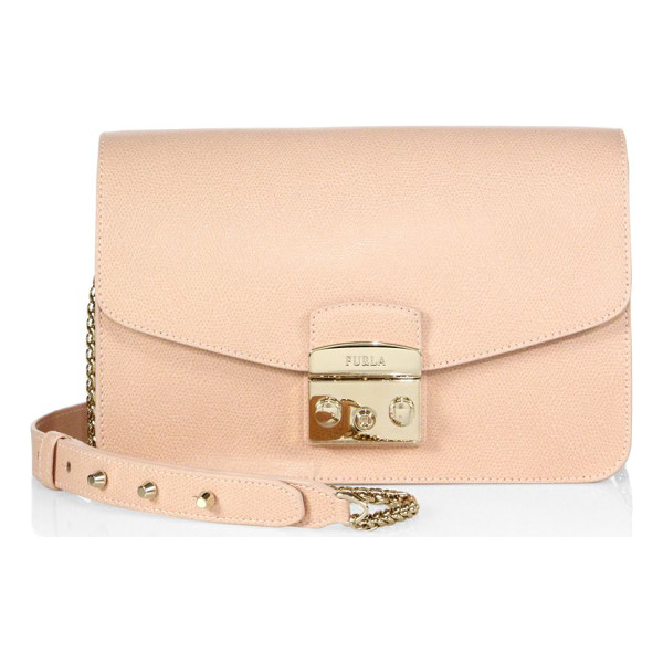 FURLA metropolis leather shoulder bag - Textured leather envelope style with signature hardware....