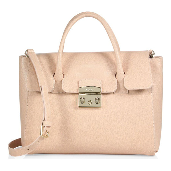 FURLA metropolis leather satchel - Textured leather satchel accented with signature hardware....