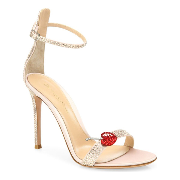 GIANVITO ROSSI cherry portofino crystal ankle-strap sandals - Glam crystal ankle-strap sandal with cherry applique....
