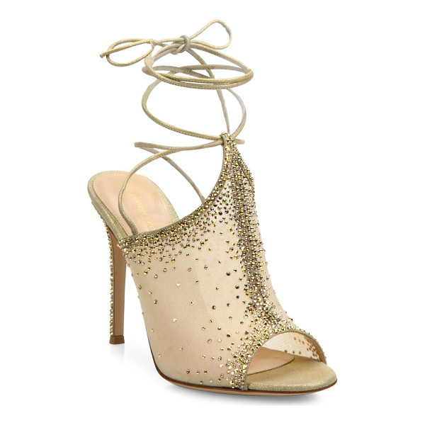 GIANVITO ROSSI etoile mesh & crystal ankle-wrap peep toe mules - Crystal-embellished mesh mules with suede ankle ties.