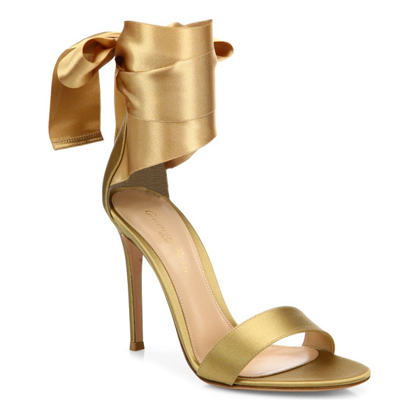 GIANVITO ROSSI gala satin ankle-wrap sandals - Glamorous satin sandal with luxe ankle-wrap straps....