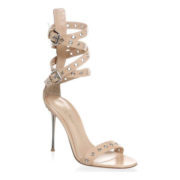 GIANVITO ROSSI grommet leather strap sandal - Edgy strap sandals featuring grommet details. Stiletto...