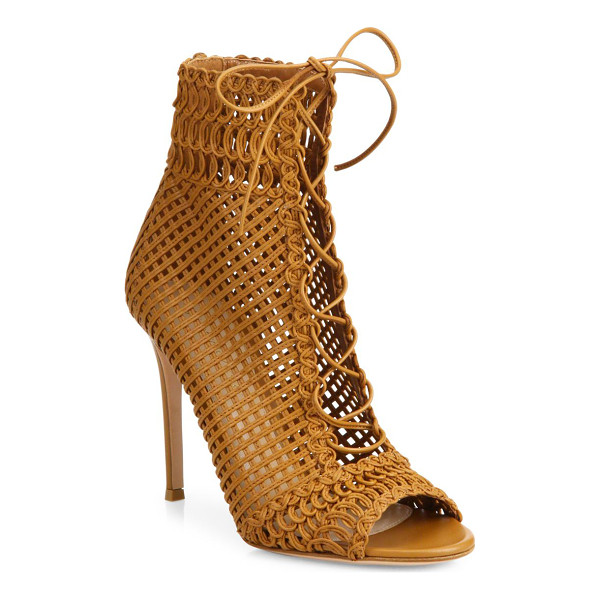 GIANVITO ROSSI marnie woven leather lace-up booties - Woven leather lace-up bootie with lattice and braided