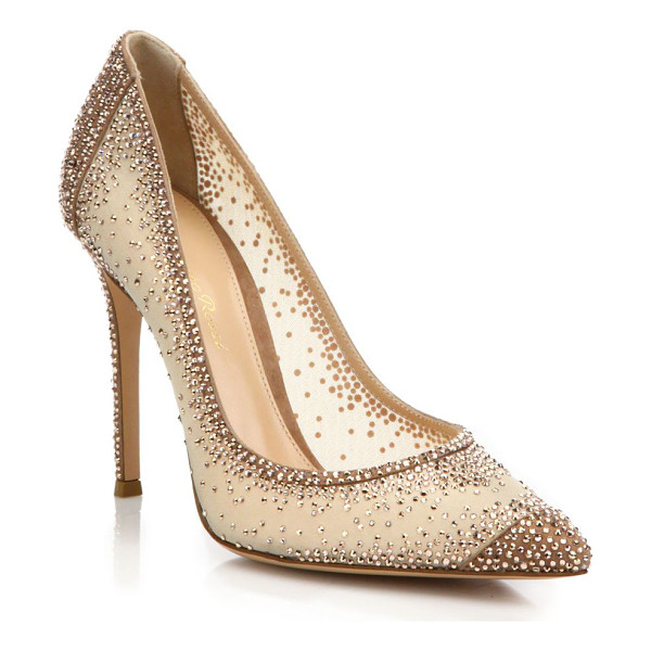 GIANVITO ROSSI mesh & crystal point toe pumps - Crystal-embellished mesh point-toe pump with suede trim.