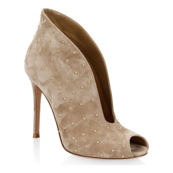 GIANVITO ROSSI studded suede booties - Suede booties designed with metallic studs allover.