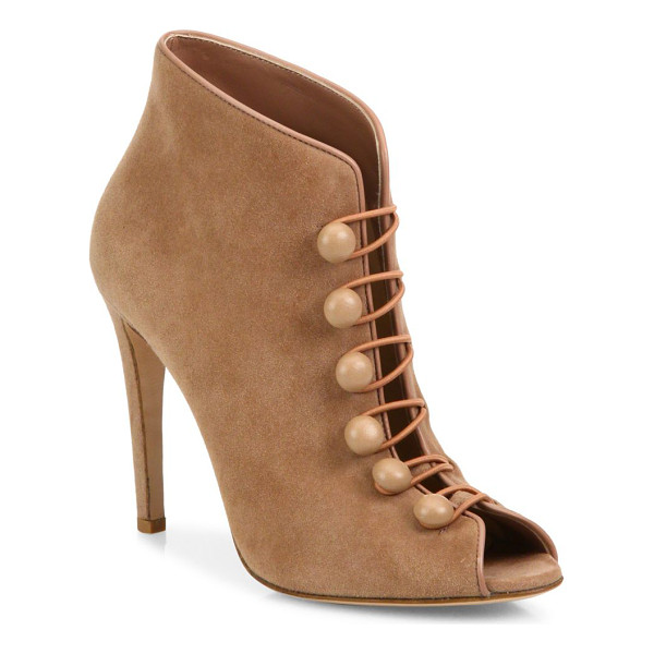 GIANVITO ROSSI suede button-strap peep toe booties - Suede peep-toe bootie with Victoriana-inspired straps....