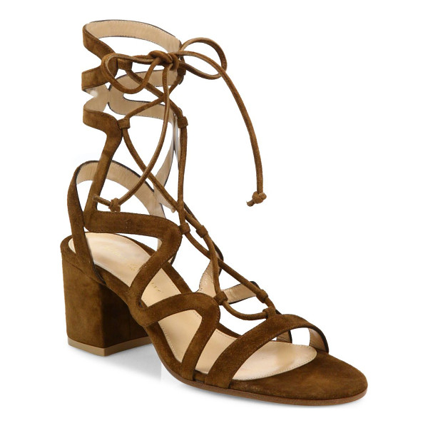 GIANVITO ROSSI suede lace-up block heel sandals - Curvy caged straps frame suede lace-up silhouette....
