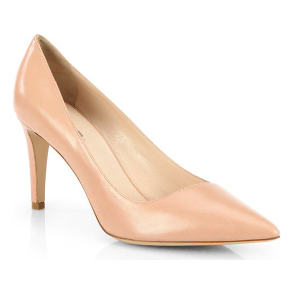 GIORGIO ARMANI Asymmetrical leather pumps - A slanted vamp characterizes a timeless point-toe pump in...