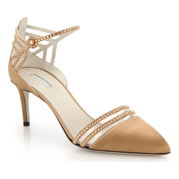 GIORGIO ARMANI Crystal satin slingback pumps - Crystals dust the intricate cutout front of these ladylike...