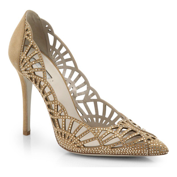 GIORGIO ARMANI Scalloped suede & crystal pumps - Tiny crystals spark the supple suede uppers of this elegant...