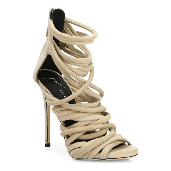 GIUSEPPE ZANOTTI runway strappy suede sandals - Multi tube straps crisscross atop alluring suede sandal....