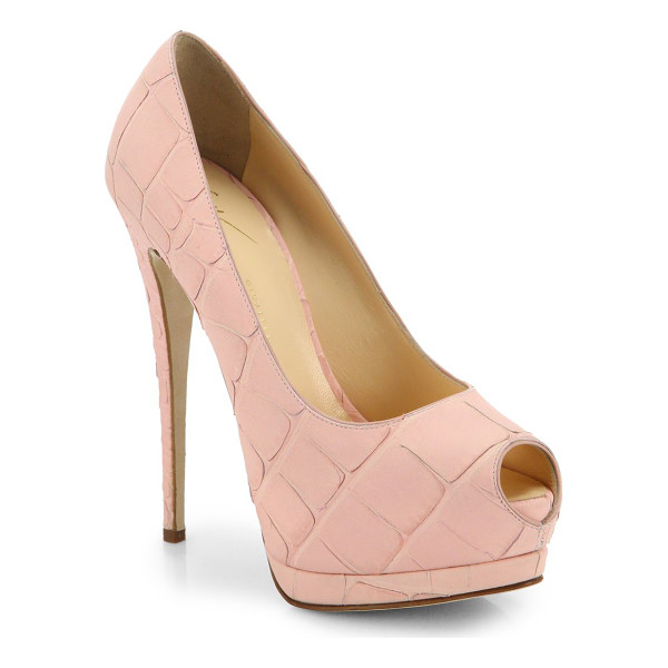 GIUSEPPE ZANOTTI Crocodile peep-toe plaform pumps - EXCLUSIVELY AT SAKS IN BLUSH. Shaped in supremely chic...