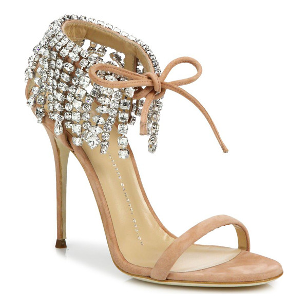 GIUSEPPE ZANOTTI crystal-embellished suede sandals - Luxe suede sandal with cascading crystal-trimmed ankle....