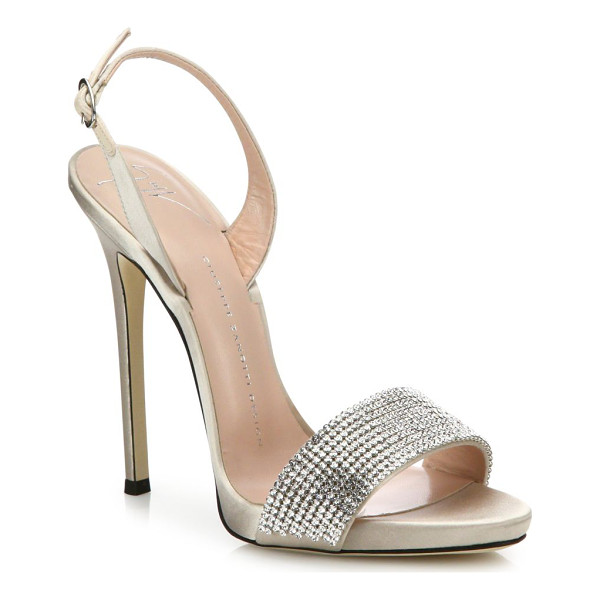 GIUSEPPE ZANOTTI crystal-embellished suede slingbacks - Sultry suede slingback sandal with crystal-encrusted toe