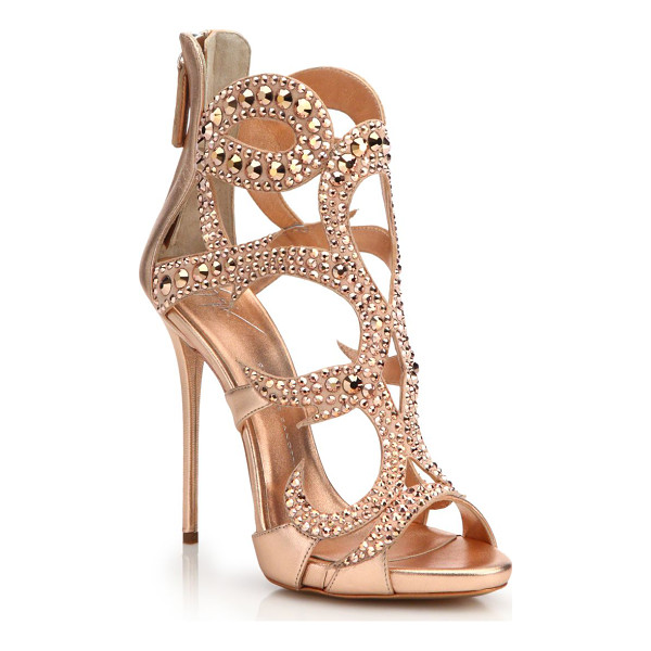 GIUSEPPE ZANOTTI crystal-embellished metallic leather sandals - Tonal crystals elevate striking metallic cage sandal....