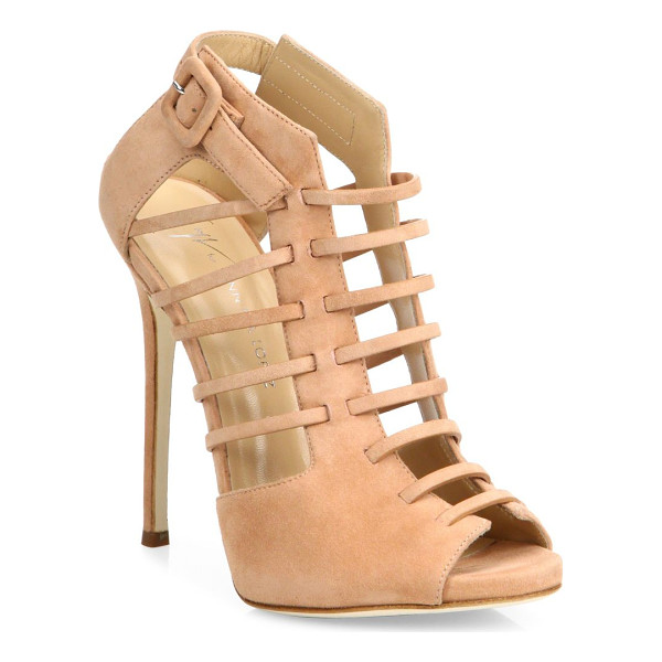 GIUSEPPE ZANOTTI giuseppe for jennifer lopez 120 suede cage peep-toe booties - From the Giuseppe for Jennifer Lopez Capsule Collection....