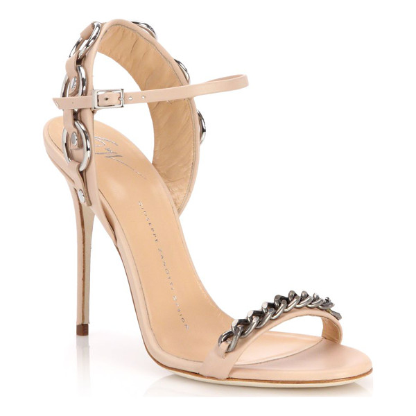 GIUSEPPE ZANOTTI Metal chain-trim sandals - Gleaming metal chains trim edgy leather sandalSelf-covered...