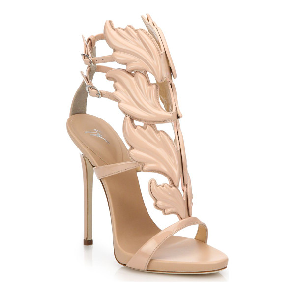 GIUSEPPE ZANOTTI Metallic leather wing sandals - Crafted with an artful wing motif and cast in a gleaming...
