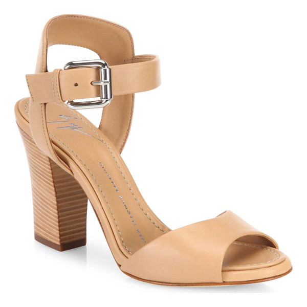 GIUSEPPE ZANOTTI emmanuelle leather peep toe sandals - EXCLUSIVELY AT SAKS FIFTH AVENUE. Leather ankle-strap...