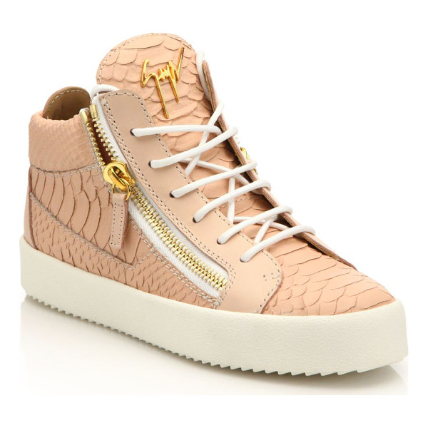 GIUSEPPE ZANOTTI Snake-embossed leather mid-top zip sneakers - Edgy zips accent snake-embossed leather sneakerRubber...