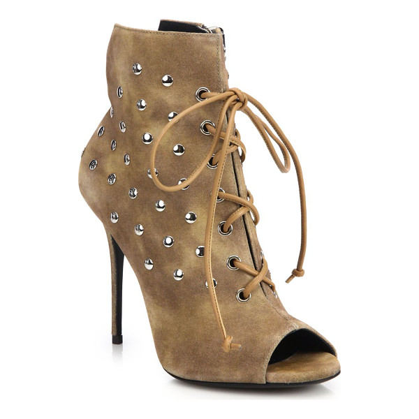 GIUSEPPE ZANOTTI studded suede lace-up booties - Gleaming studs polish brushed suede lace-up bootie....