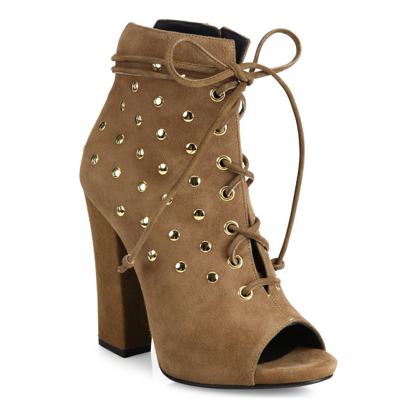 GIUSEPPE ZANOTTI studded suede lace-up peep toe booties - Studs polish suede peep-toe bootie with lace-up styling....