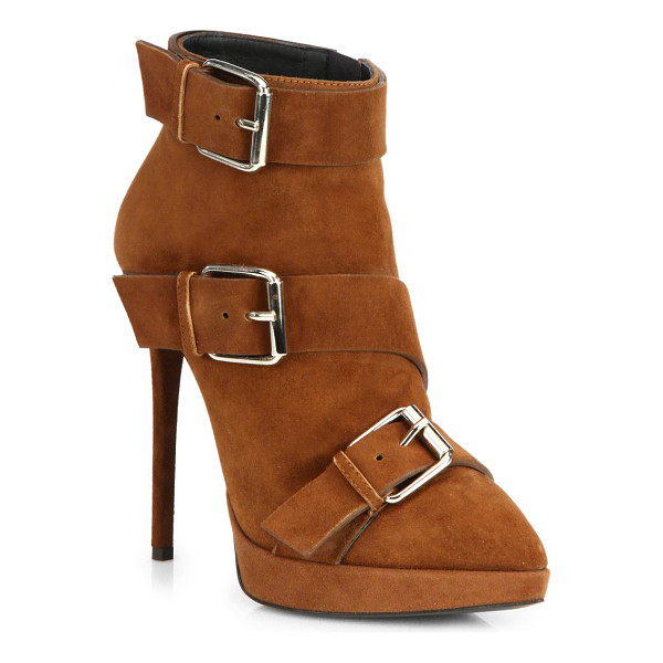 GIUSEPPE ZANOTTI Suede buckle booties - Edgy buckles and a towering heel upgrade these...