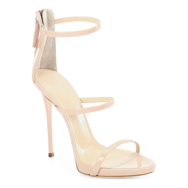 GIUSEPPE ZANOTTI triple-strap patent leather sandals - Sultry patent leather with trio of slender straps.