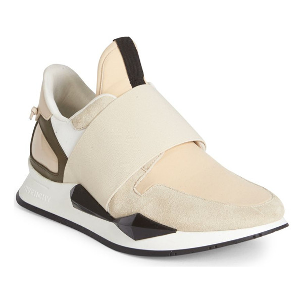 GIVENCHY active suede & patent leather sneakers - Chic mixed-media sneaker overlaid with elastic band....
