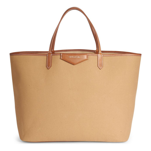 GIVENCHY antigona large canvas tote - Spacious canvas tote with topstitched leather trim. Double
