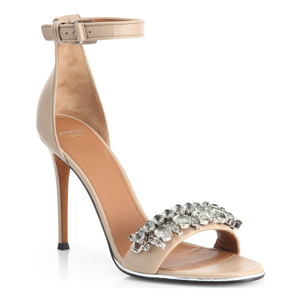 GIVENCHY Jeweled mona sandals - Lacquered metallic trim and a bejeweled front strap dress...