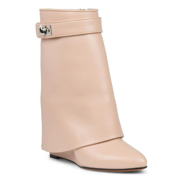 GIVENCHY shark lock leather pants mid-calf wedge boots - A signature avant-garde style, fashioned with a supple...