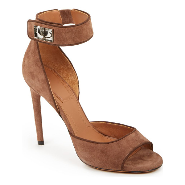 GIVENCHY Shark lock suede sandals - Sleek, tall and modern-chic suede sandals punctuated with...
