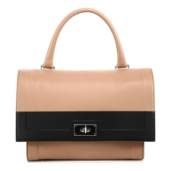 GIVENCHY Shark small two-tone leather satchel - Minimalist two-tone design with signature shark turnlockTop...