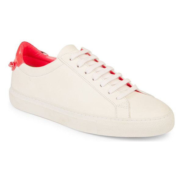 GIVENCHY urban street knots leather low-top sneakers - Leather sneaker with contrast heel and knotted detail....