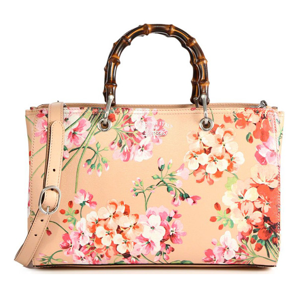 "GUCCI bamboo shopper blooms leather tote - Double bamboo handles, 4.5"" drop. Detachable and adjustable..."