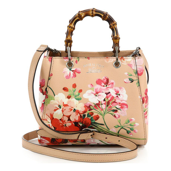 "GUCCI bamboo shopper mini blooms bag - Double bamboo handles, 3"" drop. Detachable and adjustable"