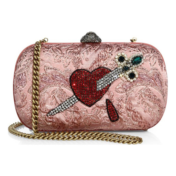 "GUCCI broadway brocade embroidered clutch - Removable chain shoulder strap, 25"" drop. Top"