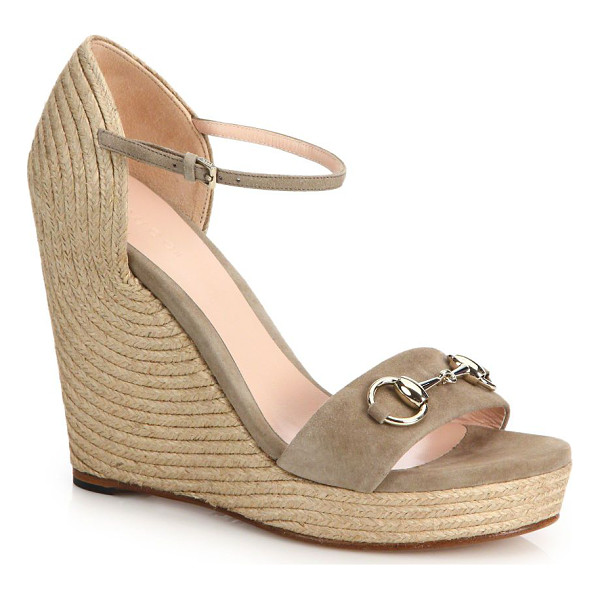 "GUCCI carolina suede espadrille wedge sandals - Espadrille wedge heel, 4"" (100mm).Platform, 1"""
