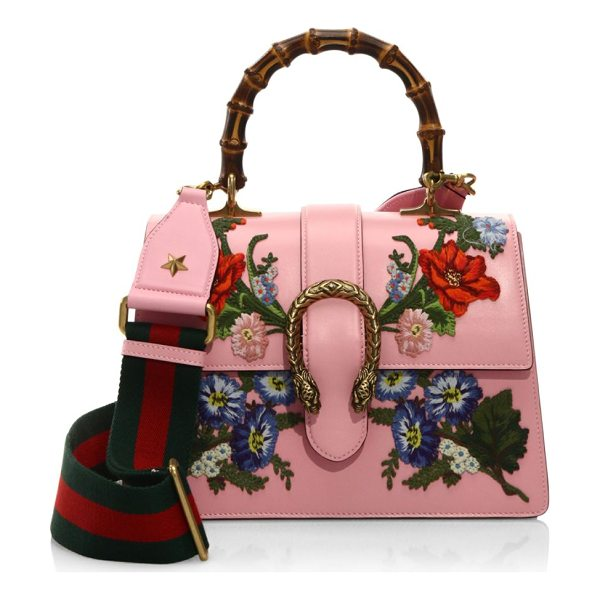 "GUCCI dionysus embroidered leather top handle bag - Bamboo handle, 4"" drop. Removable, adjustable blue and red..."