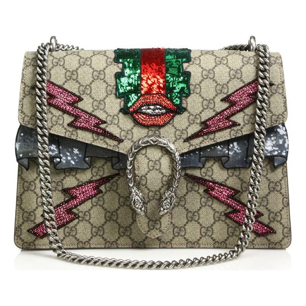 "GUCCI dionysus gg supreme embroidered bag - Chain shoulder strap, 8.5""-15"" drop. Sliding chain can be..."