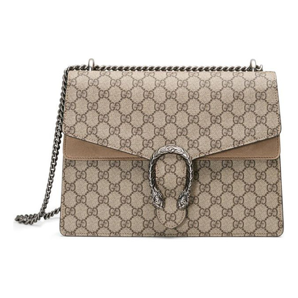 GUCCI dionysus gg supreme medium canvas shoulder bag - A textured tiger head spur adds an ornamental touch to this...