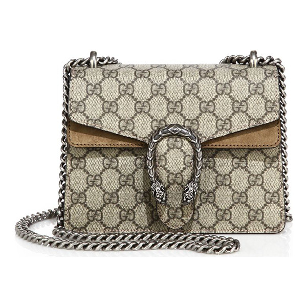 GUCCI dionysus gg supreme mini bag - GG Supreme canvas bag with suede trim. Sliding chain strap...